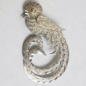 Vintage Sterling Quetzal Bird Brooch Diamond Cut
